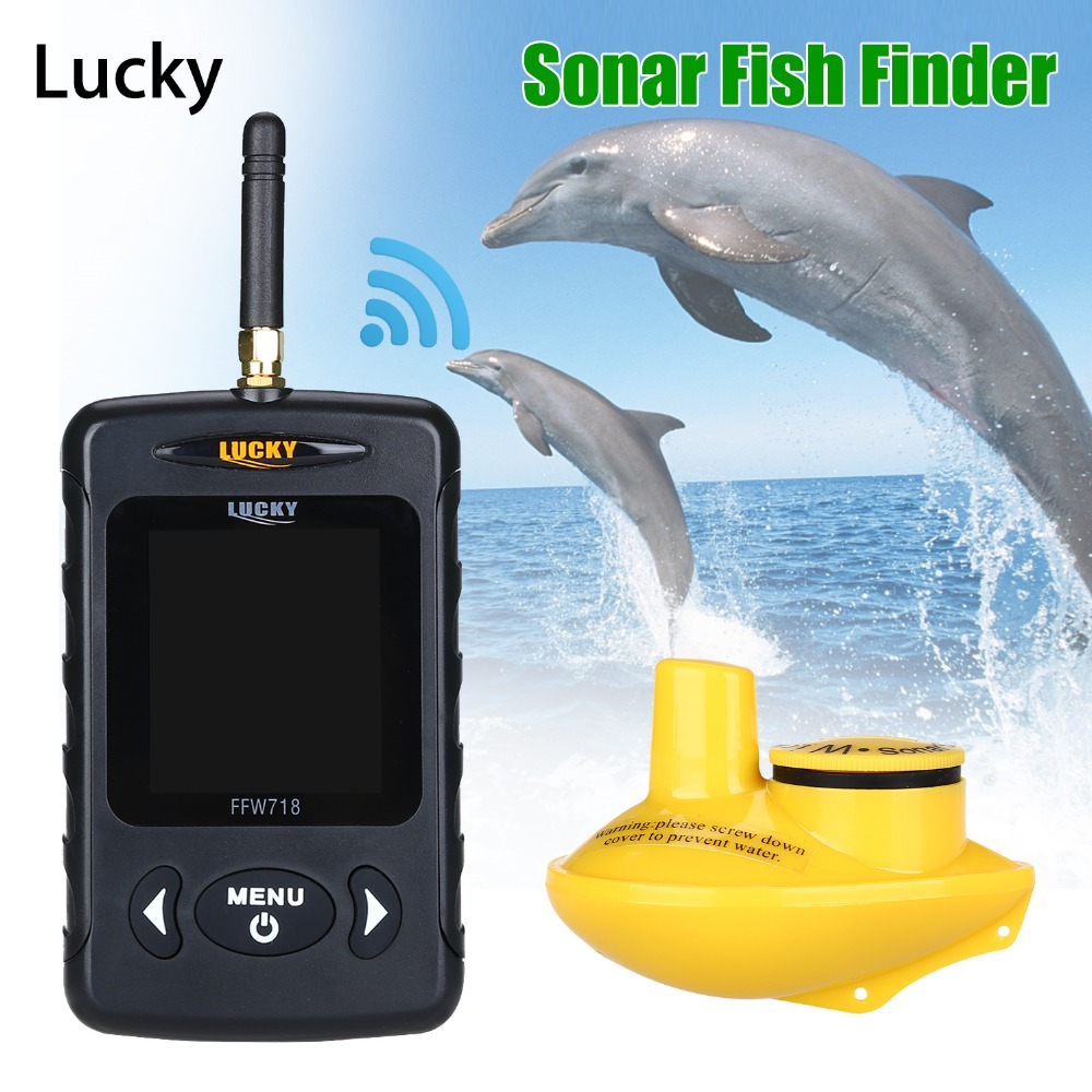 Lucky FFW718 Wireless Fish Finder Waterproof 147.6FT Sonar Depth Sounder Ocean River Lake Sea Ice Fishing Russian English Menu-in Fish Finders from Sports & Entertainment
