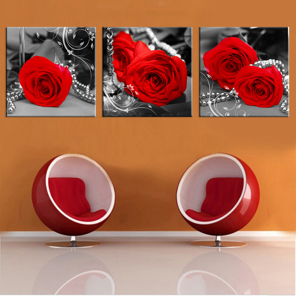 Hot Sale 3 Pieces Red Black And White Rose Flower Modern Home Wall