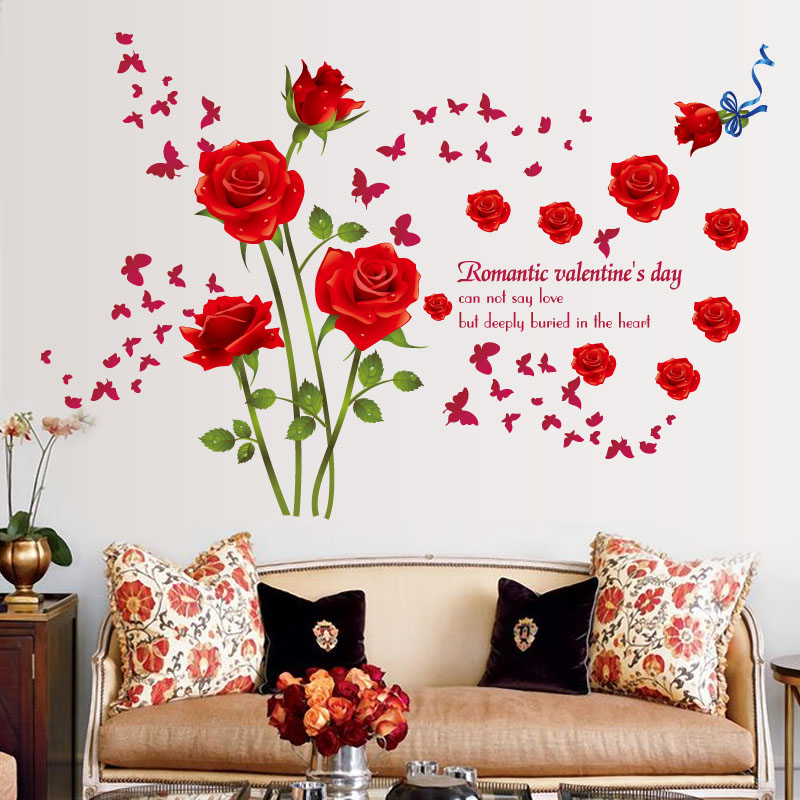 Fundecor Red Blue Roses Wall Stickers Living Room Couple Bedroom Sofa Background Home