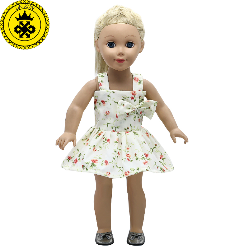 American Girl Doll Clothes Small Floral Pattern Bowknot Princess Dress for 18 inch Madame Alexander Doll Accessories MG-543 american girl doll clothes halloween witch dress cosplay costume doll clothes for 16 18 inch dolls madame alexander doll mg 256