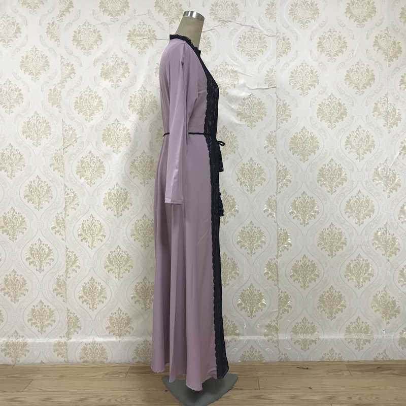 Factory direct f8868-2 Muslim Abaya fashion lace dress Muslim Abaya, stylish elegant dress and robe