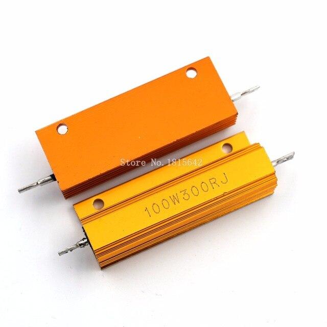 RX24 100 Вт 300R 300rj металла В виде ракушки из алюминия золото резистор высокое Мощность сопротивление Золотой теплоотвод резистор 100 Вт 300 ом