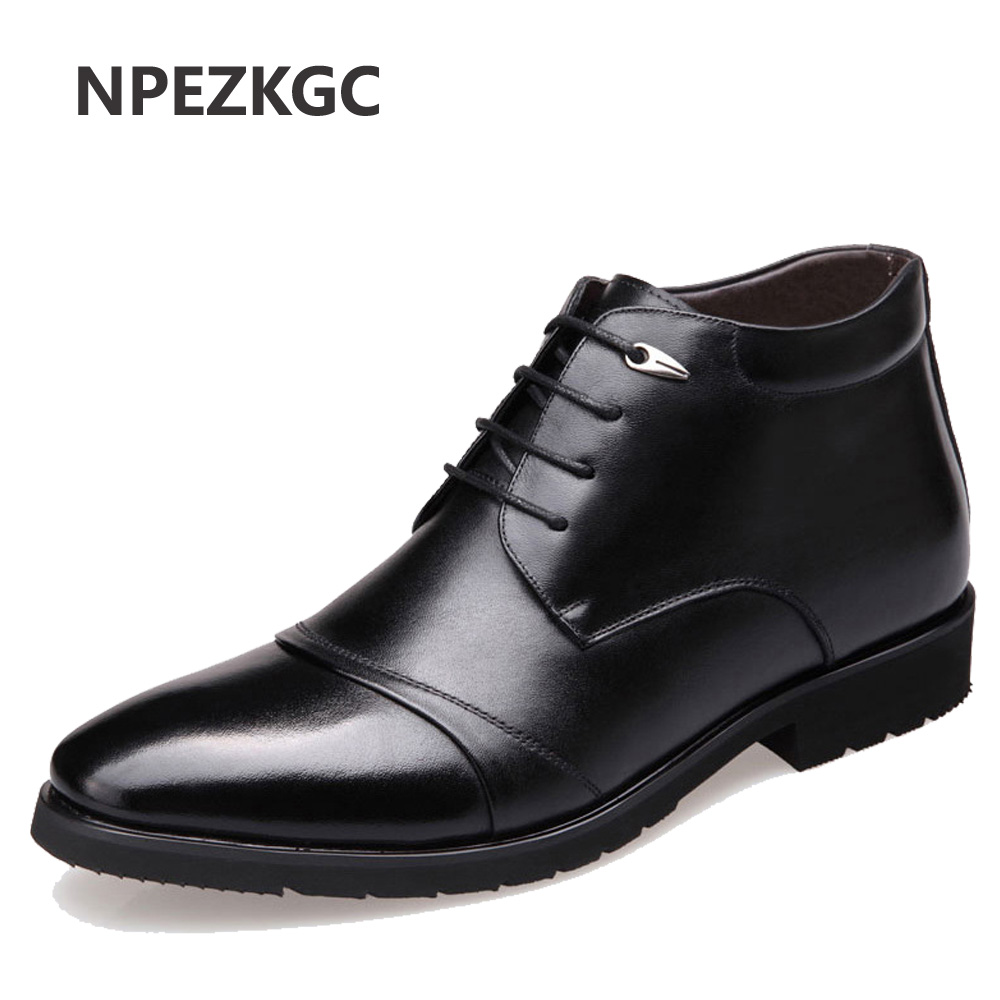 NPEZKGC New Handmade Men Genuine Leather Winter Boots High Quality Snow Men Boots Ankle Boots For Men Business Dress Shoes Men