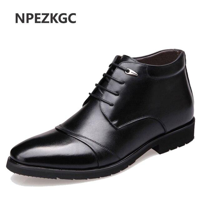 NPEZKGC 新手作り男性本革冬のブーツ高品質雪の男性男性ビジネスドレスシューズ男性