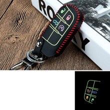 Puntadas cuero night glow 4 botón del control remoto clave fob caso de la cubierta holder llave del coche bolsa de titular para cherokee grand cherokee dodge