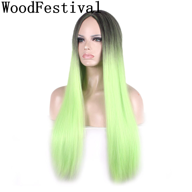 WoodFestival Black Green Wig Long Straight Hair Heat Resistant Wigs For Women Synthetic Cosplay