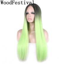 WoodFestival Black Green Wig Long Straight Hair Heat Resistant Wigs for Women Synthetic Cosplay wignee hand made front ombre color long blonde synthetic wigs for black white women heat resistant middle part cosplay hair wig