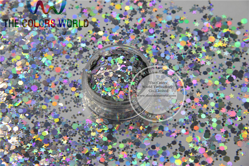 ASL25151-106 Mix Holographic Silver  Colors Solvent Resistant Glitter Spangles For Nail Polish Acrylic,DIY Supplies