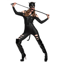 Woman Halloween Catwoman Costume Female Sexy Adult tight leather catsuit Cosply masked ball Nightclub Bar Role play party dress