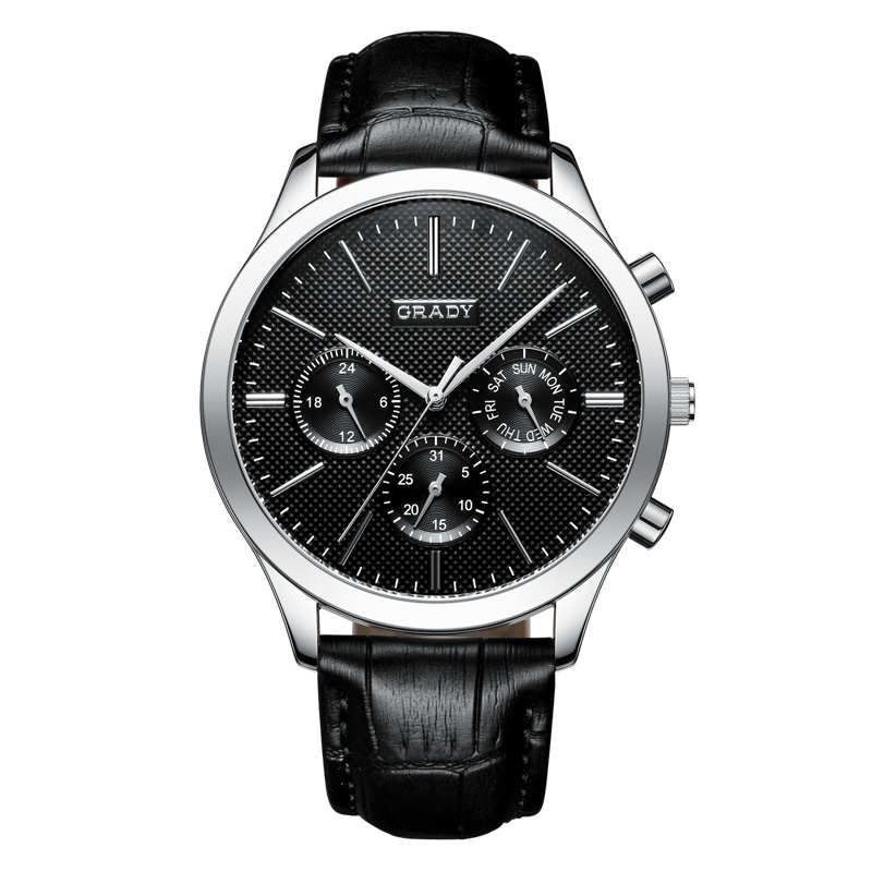Luxury Top Brand Grady New Fashion Men's Designer Quartz Watch Male Wristwatch Leather relogio masculino relojes men watches luxury top brand weiyaqi new fashion big dial designer quartz man wristwatch relogio masculino relojes pengnatate