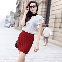 Women Summer Pencil Skirt Ladies Style Candy Color Pleated Skirts Female Stretch OL Work Wear for Office Lady