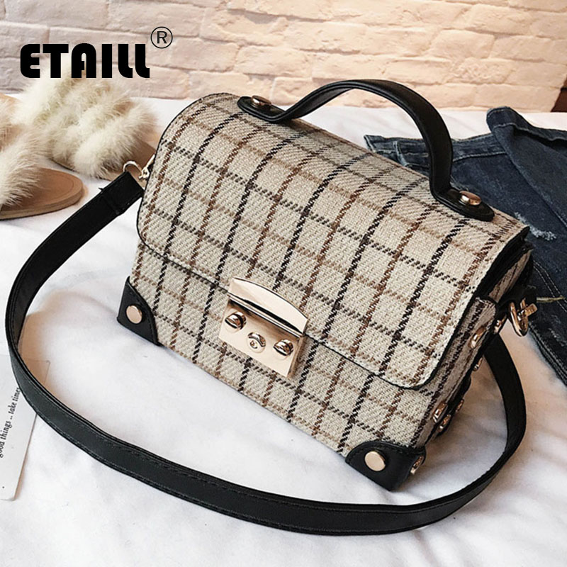 ETAILL England Plaid Square Box Top Handle Bag Woolen Pu Leather Handbag Plaid Box Briefcase Ladies OL Shoulder Crossbody Bag open shoulder plaid top