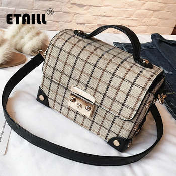 a271e1134f99 High Quality ETAILL England Plaid Square Box Top Handle Bag Woolen Pu  Leather Handbag Plaid Box Briefcase Ladies OL Shoulder Crossbody Bag