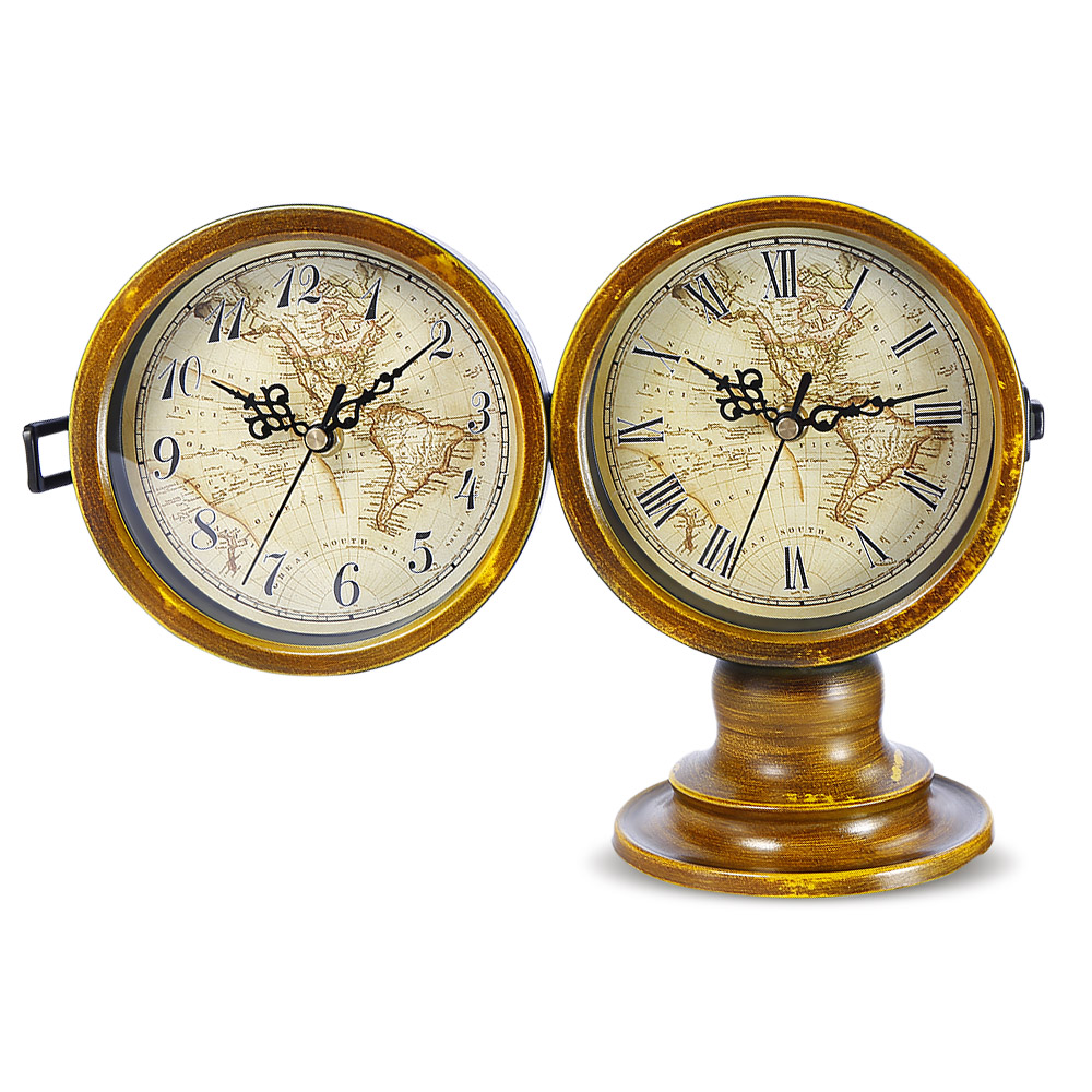Double sided european retro style table clock with world map energy double sided european retro style table clock with world map energy saving classic style metal leg quartz movement home decor in desk table clocks from gumiabroncs Image collections