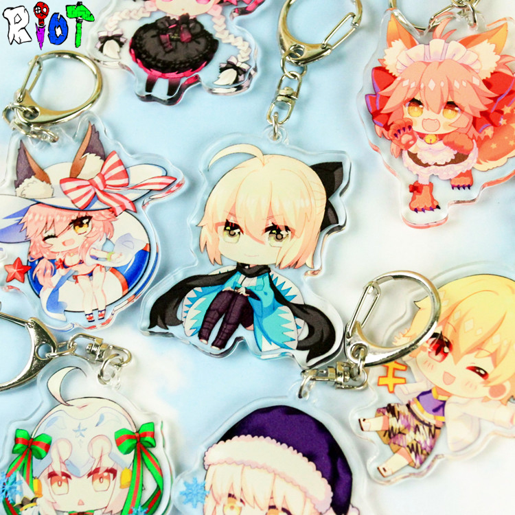 5Pcs/Lot Fate Grand Order Saber Q Version Keychain Figure Model Archer Kawaii Cute Acrylic Transparent Double Sided Keyring Gift ...