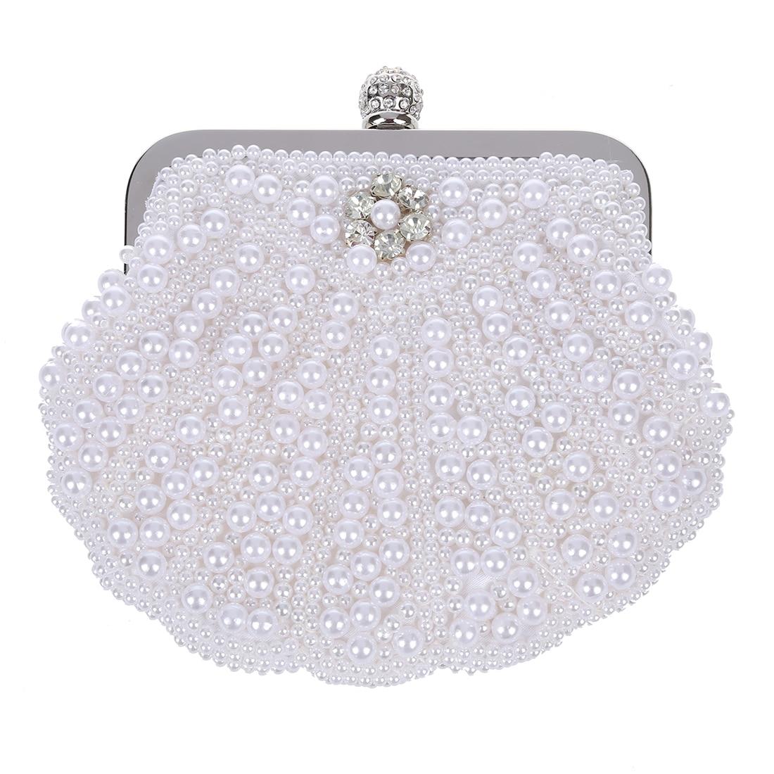 5pcs of Elegant Pearl Bridal Clutch Bag Party Handbag Shell Bag White