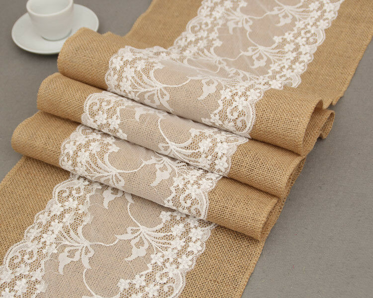 Vintage White Christmas Lace Jute Linen Hessian Burlap Country Event Party Supplies Wedding Decoration Table Cloth Runner