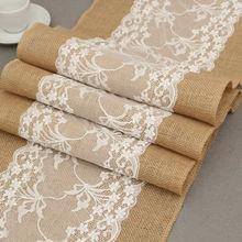 Vintage blanco Navidad encaje yute Lino arpillera país evento suministros fiesta boda decoración mantel camino