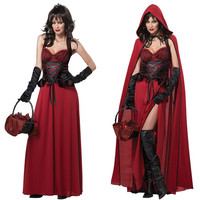 2016 High Quality Adult Little Red Riding Hood Cosplay Costume Sexy Punk Gothic Witch Dress For