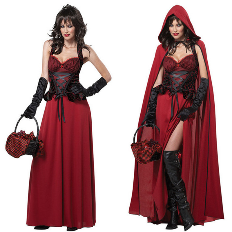 2018 high quality Adult Little Red Riding Hood Cosplay Costume Sexy Punk Gothic Witch Dress For Halloween Vampire Queen Costume