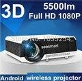 Livre 100 polegada tela de alta qualidade Android 4.2 wi fi inteligente Digital TV Proyector Beamer 3D Led projetor 1080 P Full HD 5500 Lumens