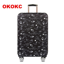 "OKOKC Black Illustra Elastic Thick Travel Suitcase Protective Luggage Cover Apply to 18""-32"" Case Suitcase,Travel Accessories"