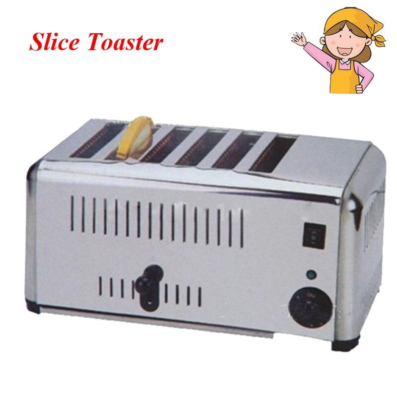Бытовые автоматические Нержавеющаясталь 6 секционированный Тостер машина для выпечки хлеба для дома завтрак прибор EST 6