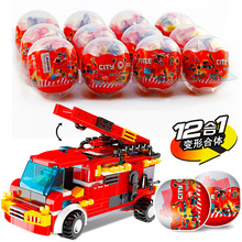12IN1 Fire Rescue Trucks Model Toy Car Helicopter Figures Building Blocks City Mini Egg Kid Toys Children Gifts цены