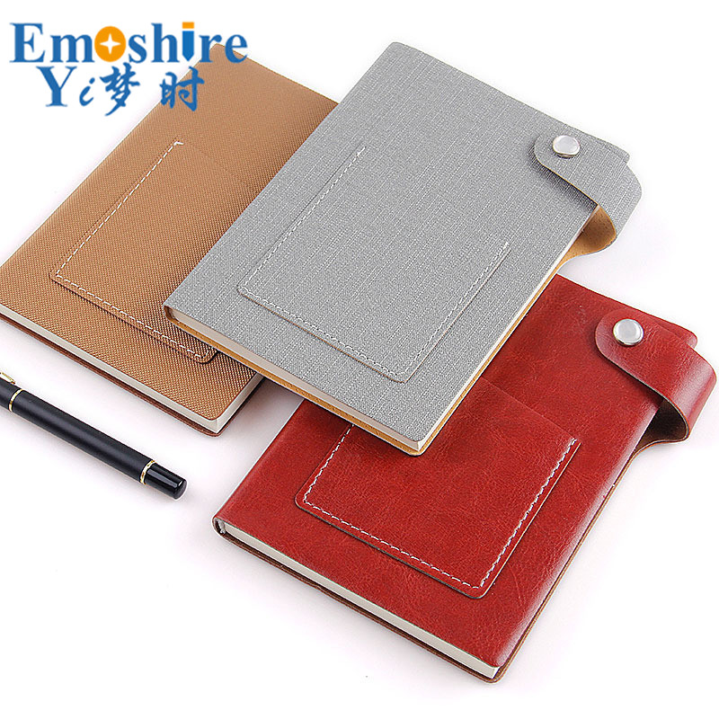 Wholesale Creative Notebook Button Leather Pocket Custom Logo Diary Book Notebook Notepad Leather Note Book Memo Pad N189 emoshire 4 set of notebooks stationery creative gift bag chinese style retro memo pad diary note book notepad n059
