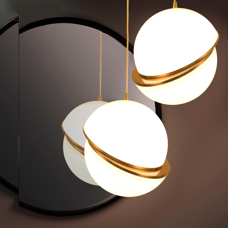 Creative Glass Ball LED Pendant Lights Hardware Plating Process Pendant Lamps for Bedroom Restaurant Bar Lighting
