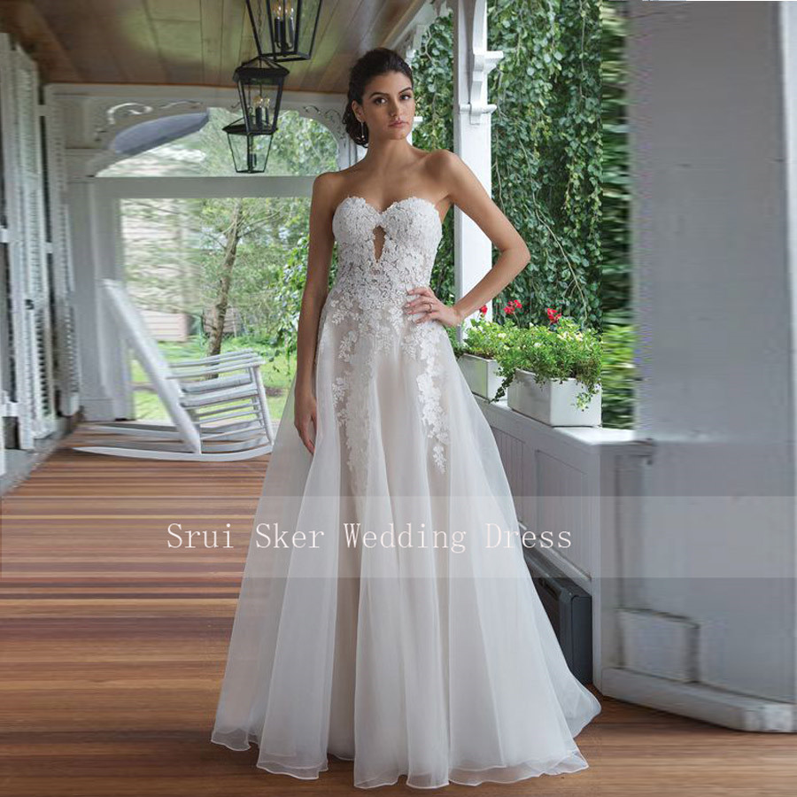 Elegant Chic Skirt Appliques Wedding Dress Sweetheart Organza Court Train Bridal Dress Wedding Gowns Princess Vestido