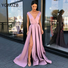 e696ee776181 Sexy Long Evening Dresses 2019 A-Line V Neck Cap Sleeve Floor Length High  Slit Saudi Arabia Women Formal Prom Party Gowns