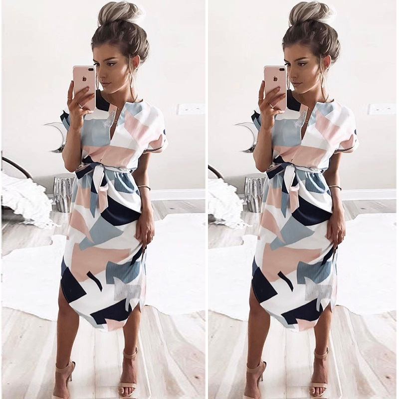 Sexy Women Floral Print Long Dress Irregular Summer Fashion 2018 V-Neck short Sleeve Geometric Square Dress Plus Size  LDW1001