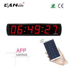 Ganxin 4 Cal 6 cyfr kontrola aplikacji zegar ścienny Led z 12 24H darmowa wysyłka tanie tanio Zegary biurkowe DIGITAL Plac 725mm Metal Mechaniczne Luminova 160mm GI6T-4R(APP)