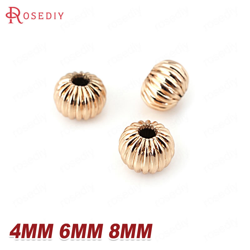 20PCS 4MM 6MM 8MM 24K Champagne Gold Color Plated Brass Pumpkin Spacer Beads High Quality Diy Jewelry Accessories image