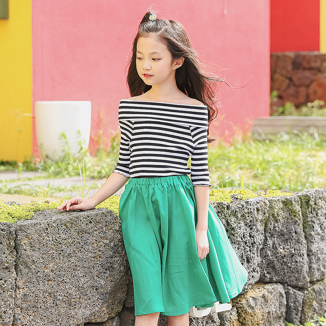 74738a1ab209 2018 summer girls dresses striped casual teens clothing children 12 years  old 170 cm