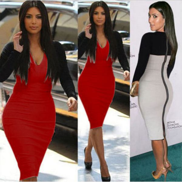 Women Sexy Party Dresses Full Sleeve Patchwork Slim Bandage Bodycon     Women Sexy Party Dresses Full Sleeve Patchwork Slim Bandage Bodycon Dress  Tops Nightclub Wear Plus Size Free Shipping W4173 in Dresses from Women s  Clothing