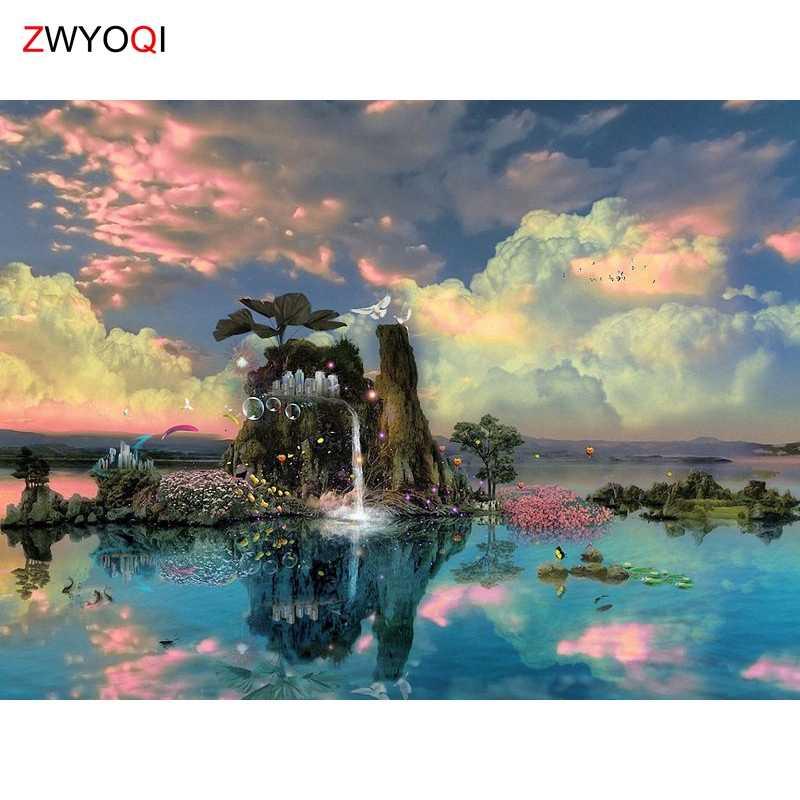 Полный мозаика из круглых бриллиантов DIY 3D Diamond картина Полная площадь Алмазная вышивка крестиком небо горное озеро давидия оберточная облако