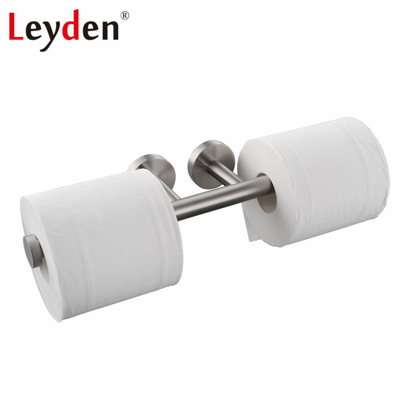 Leyden Stainless Steel Double Toilet Paper Holder Wall Mounted Brushed Roll Toilet Paper Holder Dispenser Bathroom Accessories leyden copper 4 color toilet roll holder toilet paper holder with shelf wall mounted toilet paper rack bathroom accessories