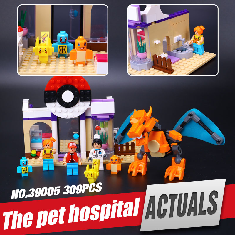 New 309Pcs Lele 39005 Pokemen Hospital Series The Pikachu Set Building Blocks Bricks Minifigures Small pieces
