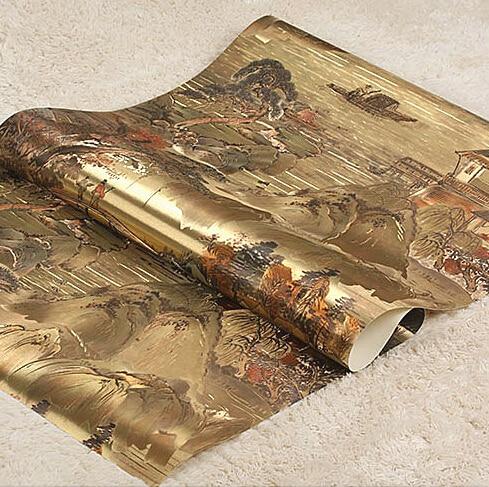 Encre chinoise peinture peintures murales vintage papier peint salon chambre papier peint mural feuille d'or papier peint rouleau Art papier peint