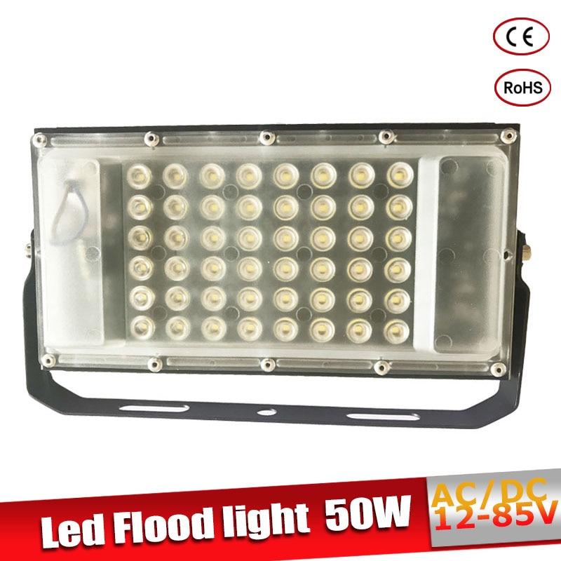 Led Lumière D'inondation 12 Volts Étanche IP65 50 w AC/DC12-85V LED Spotlight Refletor éclairage Extérieur Mur Lampe Jardin projecteur