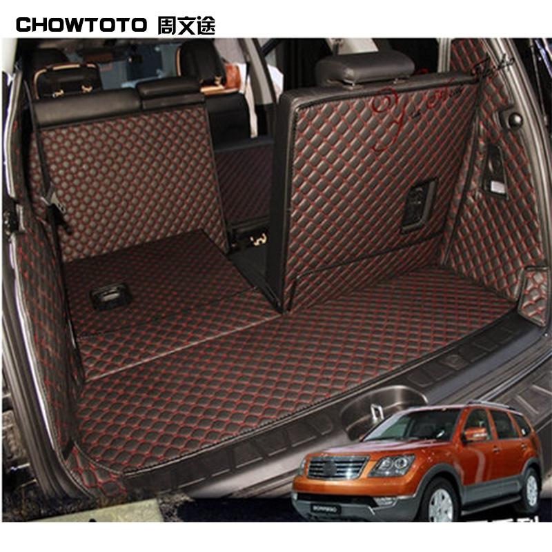 CHOWTOTO AA Auto Trunk Mats For KIA Mohave 7seats Trunk+Back Seat Mats Durable Waterproof Luggage Mats
