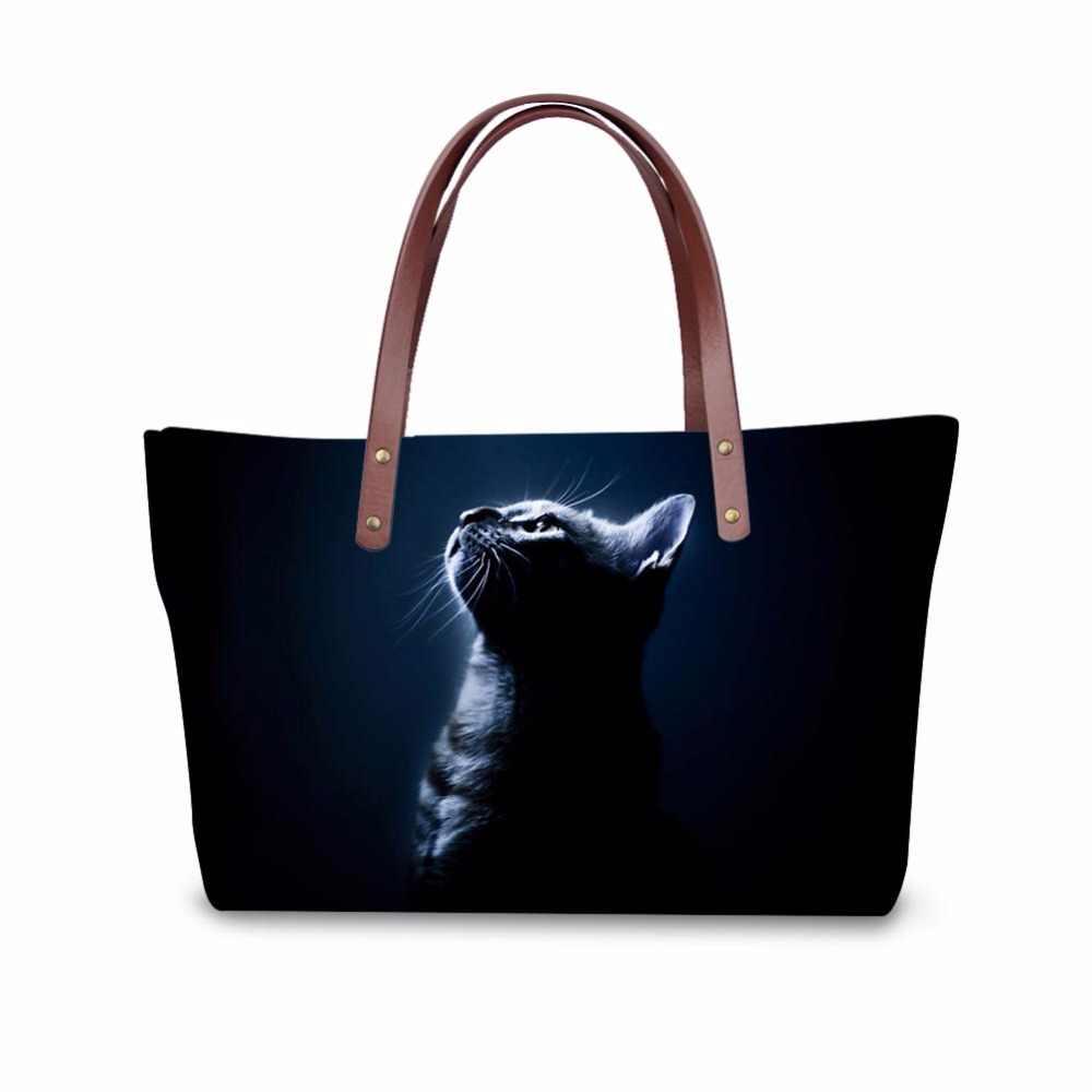 Noisydesigns kadın çanta kediler siyah komik baskı çapraz vücut çanta bayanlar lüks ünlü marka 2018 bolsa mujer kişiselleştirilmiş