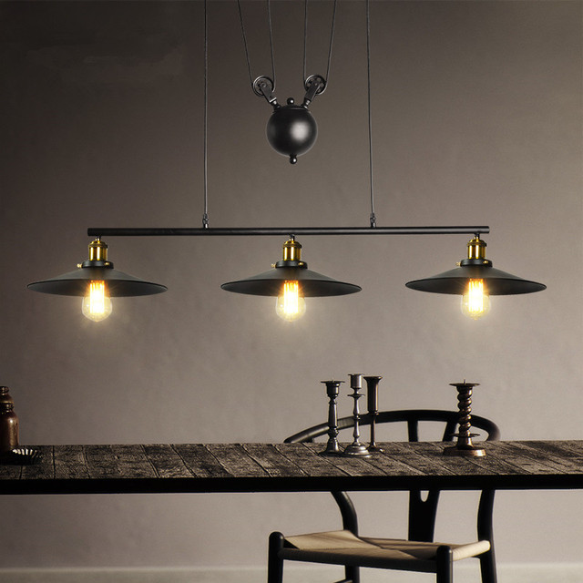 Hanging Light Fittings Wholesale: Industrial Vintage Edison Pulley Pendant Lights Adjustable