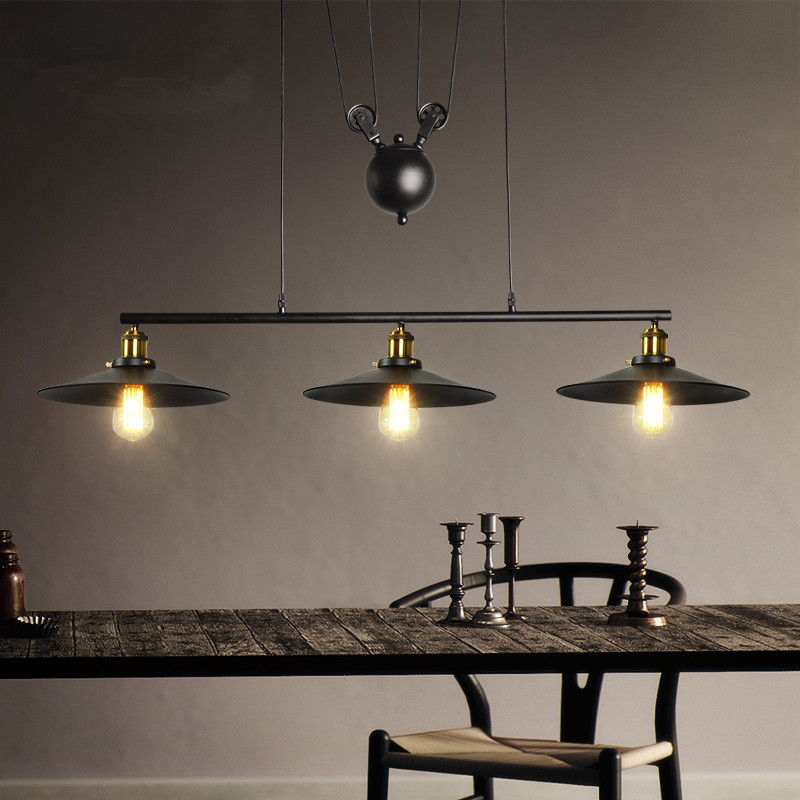 Industrial Vintage Edison Pulley Pendant Lights Adjustable Wire Retractable  Lamp Bar Restaurant Hanging Lamp Light Fitting