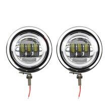 """موتور 4 1/2 """"4.5 بوصة led الضباب الضوء المار أضواء DRL 4.5 بوصة الإسكان دلو لدراجة نارية أسود /الكروم كتيفة المصباح"""