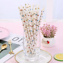 25Pcs Drinking Paper Straws Flamingo Straw Baby Shower Decoration Gift Party Event Supplies Halloween Christmas(China)