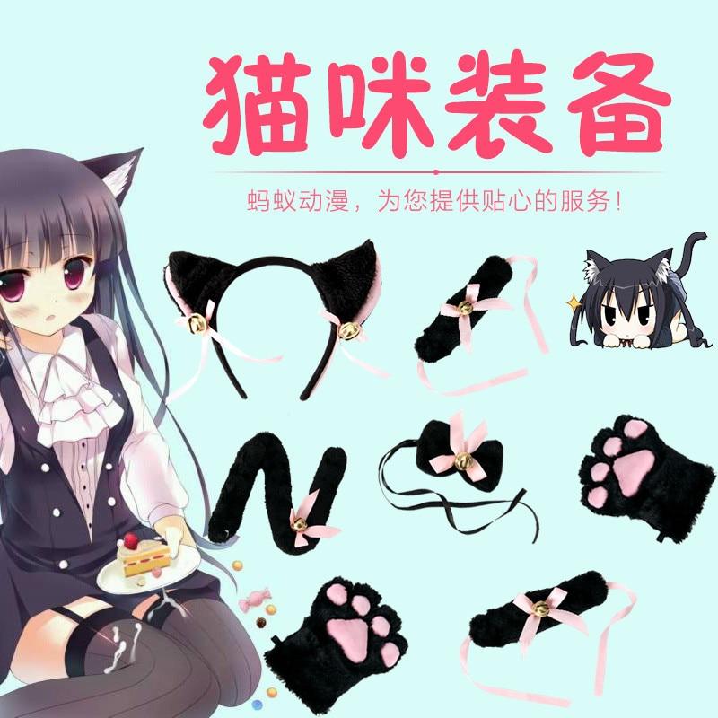New Arrival Cartoon Lolita Cat Claw Gloves White/Black Cat Set Gloves+Headwear+Wrist Band+Tie+Tail