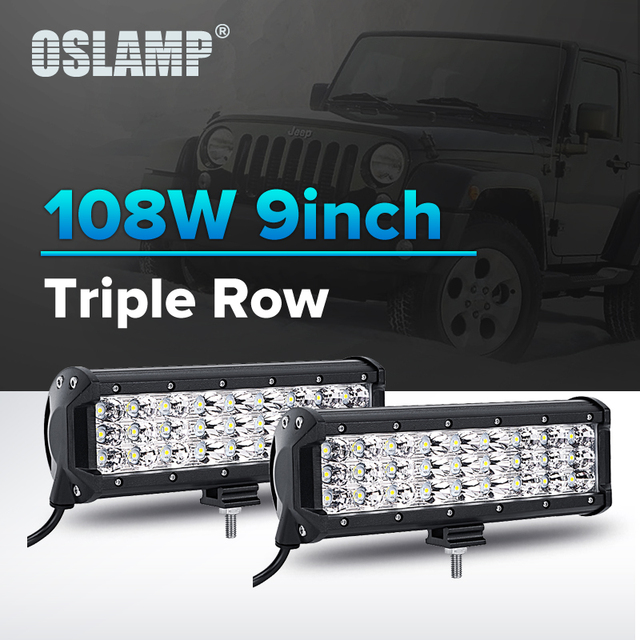 Oslamp 2pcs 108w 9 led chips led light bar spot flood 12v 24v oslamp 2pcs 108w 9 led chips led light bar spot flood 12v 24v 6000k mozeypictures Choice Image